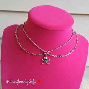 Layered Sterling Silver Skull Choker Necklace